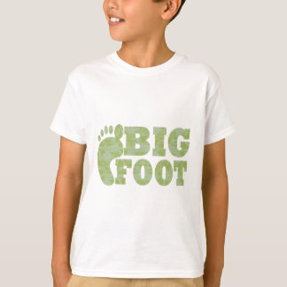 Green camouflage Bigfoot text T-Shirt