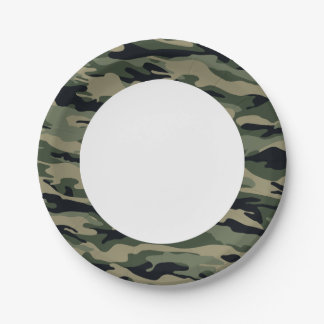 Green Camouflage. Camo your 7 Inch Paper Plate