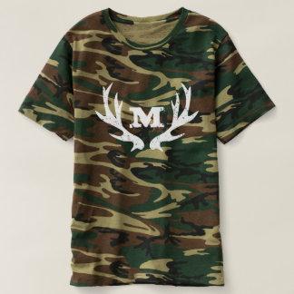 Green camouflage deer antler logo hunting t shirts