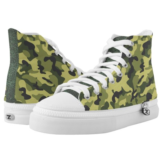 Green Camouflage  High Top Shoes Printed Shoes