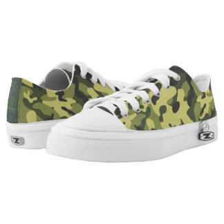 Green Camouflage Low Top Shoes Printed Shoes