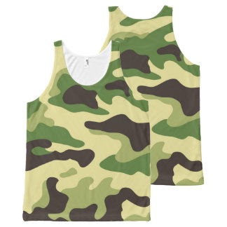 Green Camouflage Pattern All-Over Print Tank Top