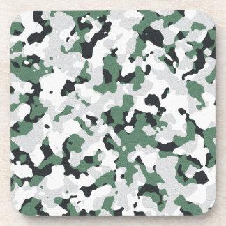 Green camouflage pattern beverage coaster