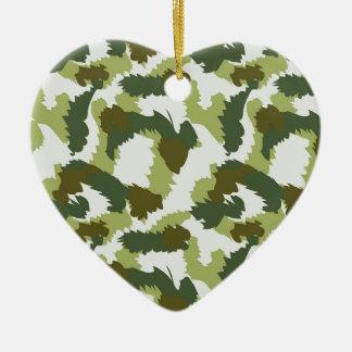 Green Camouflage pattern Ceramic Heart Decoration