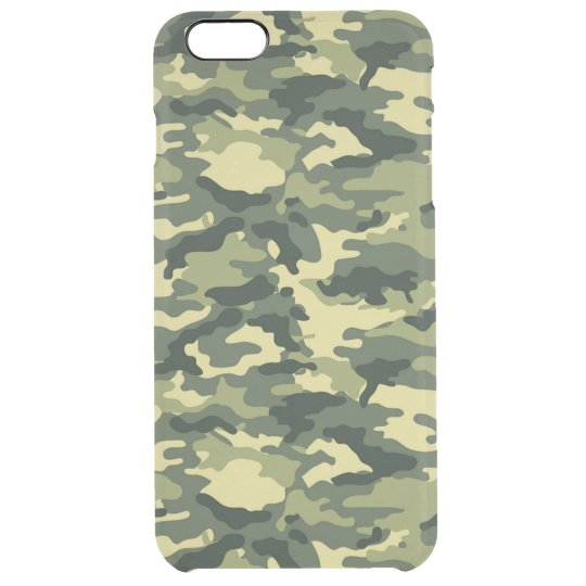 Green Camouflage Pattern Clear iPhone 6 Plus Case