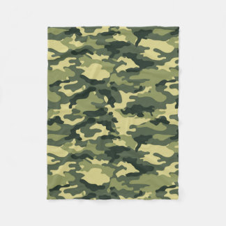 Green Camouflage Pattern Fleece Blanket