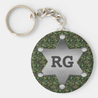 Green Camouflage Pattern Sheriff Badge Monogram Basic Round Button Key Ring