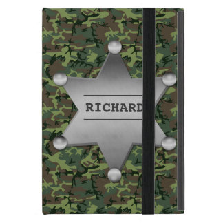 Green Camouflage Pattern Sheriff Name Badge iPad Mini Cover
