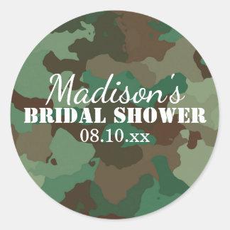 Green Camouflage Personalized Bridal Shower Round Sticker
