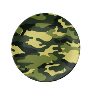 Green Camouflage Porcelain Plates