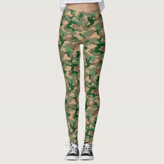 Green Camouflage Print Leggings