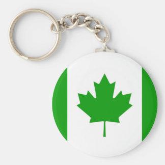 Green Canada-Flag Key-Chain Key Ring