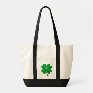 Green candy stripes 4 leaf clover impulse tote bag