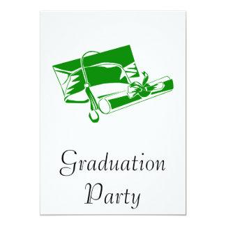 Green Cap & Diploma 13 Cm X 18 Cm Invitation Card