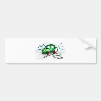 GREEN CAR funny illustrated cartoon Bumper Sticker Car Bumper Sticker