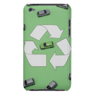 Green car surrounded by grey cars iPod Case-Mate case