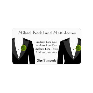 Green Carnation Address Labels for Gay Wedding