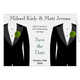 Green Carnation Gay Wedding Save The Date Notecard