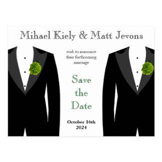 Green Carnation Gay Wedding Save the Date Postcard