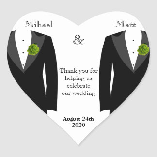 Green Carnation Heart Sticker Favor for Gay Grooms