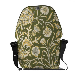 Green Carnation Tapestry Pattern Courier Bag