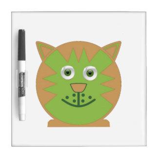 Green  Cartoon Cat Dry Erase Board