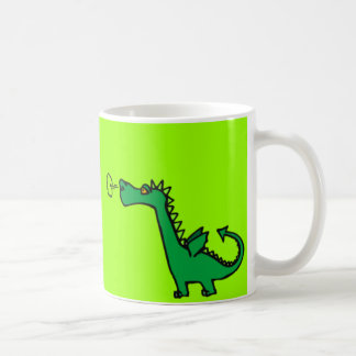 Green Cartoon Dragon Basic White Mug