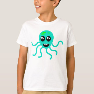 Green Cartoon Octopus With Tentacles Tshirt