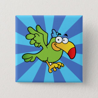 Green Cartoon Parrot 15 Cm Square Badge
