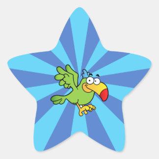 Green Cartoon Parrot Star Sticker