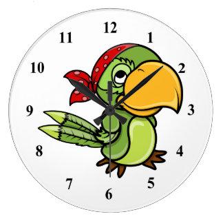 Green Cartoon Pirate Parrot Large Clock