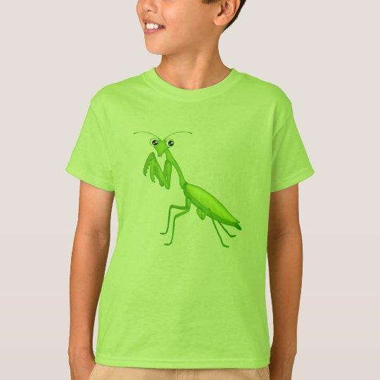 Green Cartoon Praying Mantis Youth Apparel T-Shirt