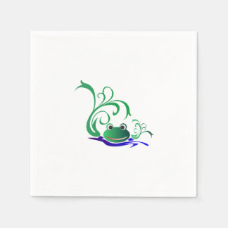 Green Cartoon Smiling Frog Face over water Paper Napkin