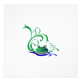 Green Cartoon Smiling Frog Face over water Photo