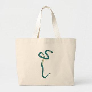 Green Cartoon Snake Large Tote Bag