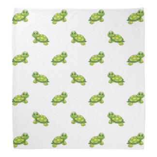 Green Cartoon Turtle with Yellow Dots Pattern Head Kerchiefs