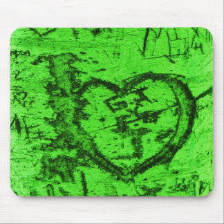 Green Carved Tree Trunk Grafitti Mouse Pad