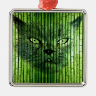 Green Cat Bamboo Silver-Colored Square Decoration