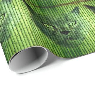 Green Cat Bamboo Wrapping Paper