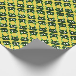 green cat cartoon style vector illustration wrapping paper