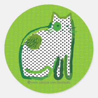 'green cat' digital painting sticker seal