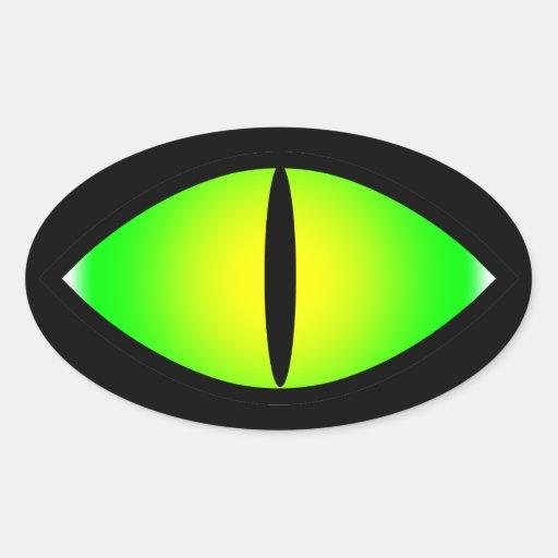 Green Cat Eye Oval Sticker