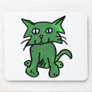 green cat mouse pad
