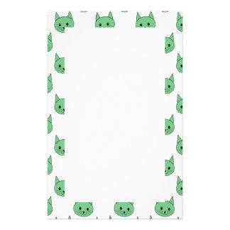 Green cat pattern. stationery