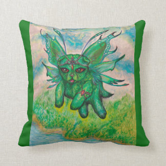 Green Cat Winged Magical Cushion