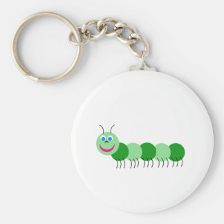 Green caterpillar key ring