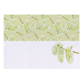 Green catkins watercolor name place cards pack of chubby business cards