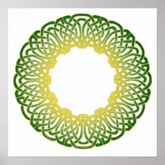 Green Celtic Circle Knotwork Prints Poster
