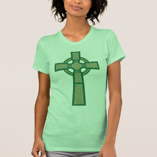 Green Celtic Cross Ladie's Fitted Tank Top