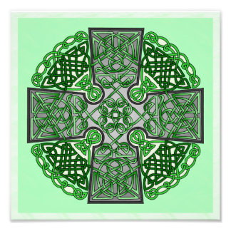 Green Celtic Cross Medallion Photo Print